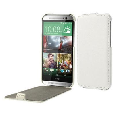 CUSTODIA FLIP VERTICALE ULTRA SLIM PELLE per HTC ONE 2 ( M8 ), ONE M8s COLORE BIANCO