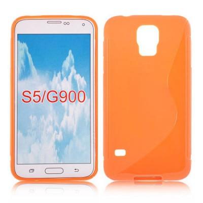 CUSTODIA GEL TPU SILICONE DOUBLE per SAMSUNG G900F GALAXY S5, GALAXY S5 NEO G903F, GALAXY S5 PLUS COLORE ARANCIONE