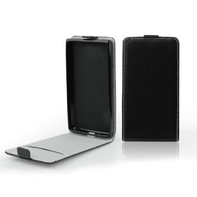 CUSTODIA FLIP VERTICALE SLIM PELLE per ALCATEL ONE TOUCH POP C3, POP C2 CON INTERNO IN TPU SILICONE COLORE NERO