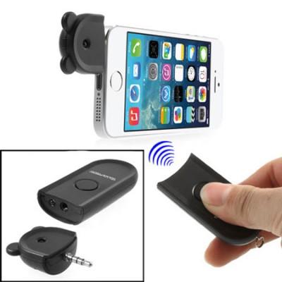 TELECOMANDO WIRELESS AUTOSCATTO FOTOCAMERA PER APPLE IPHONE 5, 5S, 5C COLORE NERO SEGUE COMPATIBILITA'...