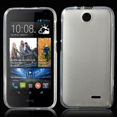CUSTODIA GEL TPU SILICONE per HTC DESIRE 310 COLORE BIANCO-TRASPARENTE