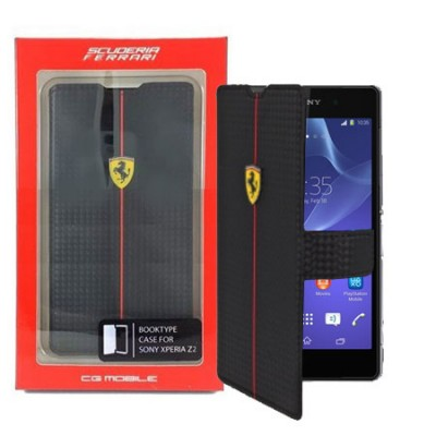CUSTODIA FLIP ORIZZONTALE FERRARI FEFOCFLBKZ2BL per SONY XPERIA Z2 COLORE NERO ONE CARBON COLLECTION BLISTER