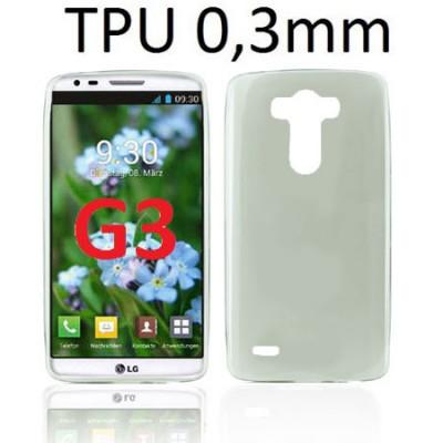 CUSTODIA GEL TPU SILICONE ULTRA SLIM 0,3mm per LG G3 D850, D855, LS990 COLORE NERO TRASPARENTE