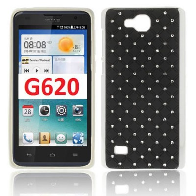 CUSTODIA BACK RIGIDA CON BRILLANTINI per HUAWEI ASCEND G620, C8816 COLORE NERO (NO G620 4G)