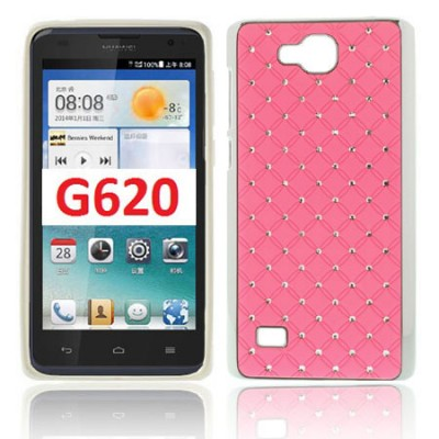 CUSTODIA BACK RIGIDA CON BRILLANTINI per HUAWEI ASCEND G620, C8816 COLORE ROSA (NO G620 4G)
