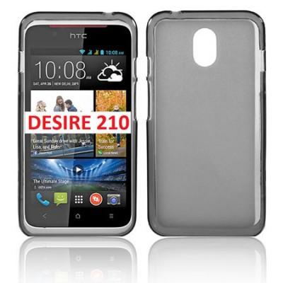 CUSTODIA GEL TPU SILICONE per HTC DESIRE 210 DUAL SIM COLORE NERO-TRASPARENTE