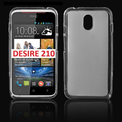 CUSTODIA GEL TPU SILICONE per HTC DESIRE 210 DUAL SIM COLORE BIANCO-TRASPARENTE