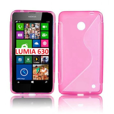 CUSTODIA GEL TPU SILICONE DOUBLE per NOKIA LUMIA 630 COLORE ROSA
