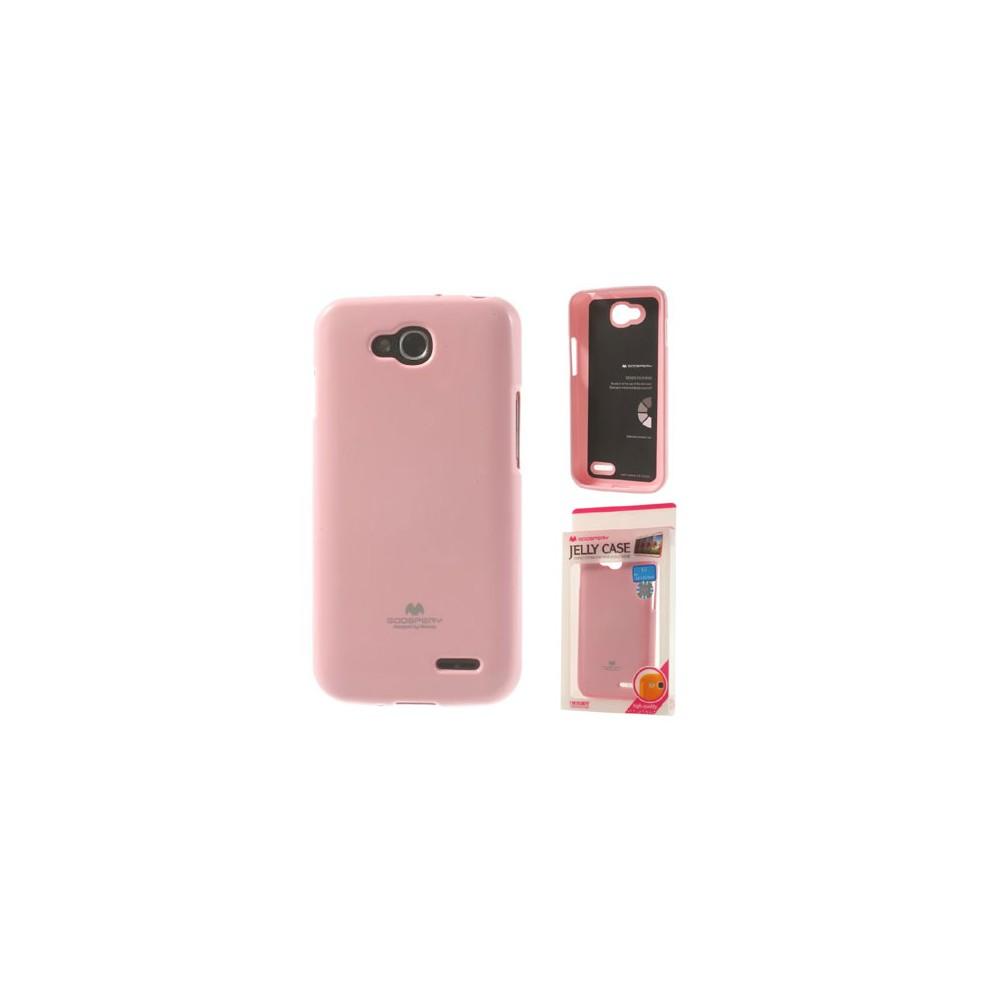 CUSTODIA GEL TPU SILICONE per LG L90 DUAL D410 COLORE ROSA LUCIDO CON GLITTER ALTA QUALITA' MERCURY BLISTER