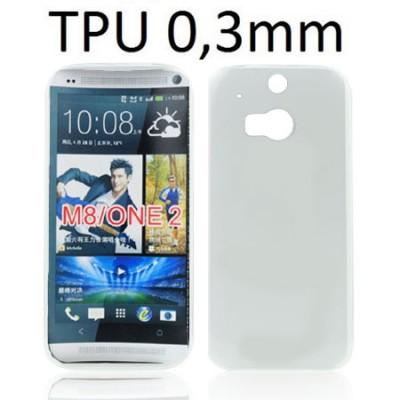 CUSTODIA GEL TPU SILICONE ULTRA SLIM 0,3mm per HTC ONE 2 ( M8 ), ONE M8s COLORE BIANCO TRASPARENTE