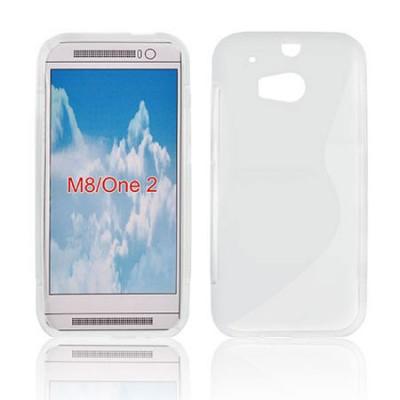 CUSTODIA GEL TPU SILICONE DOUBLE per HTC ONE 2 ( M8 ), ONE M8s COLORE BIANCO-TRASPARENTE