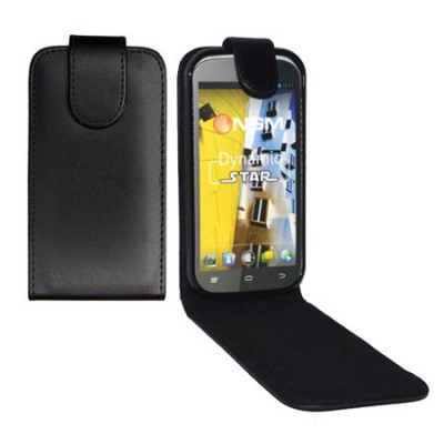 CUSTODIA FLIP VERTICALE PELLE per NGM DYNAMIC STAR CON INTERNO IN TPU SILICONE COLORE NERO