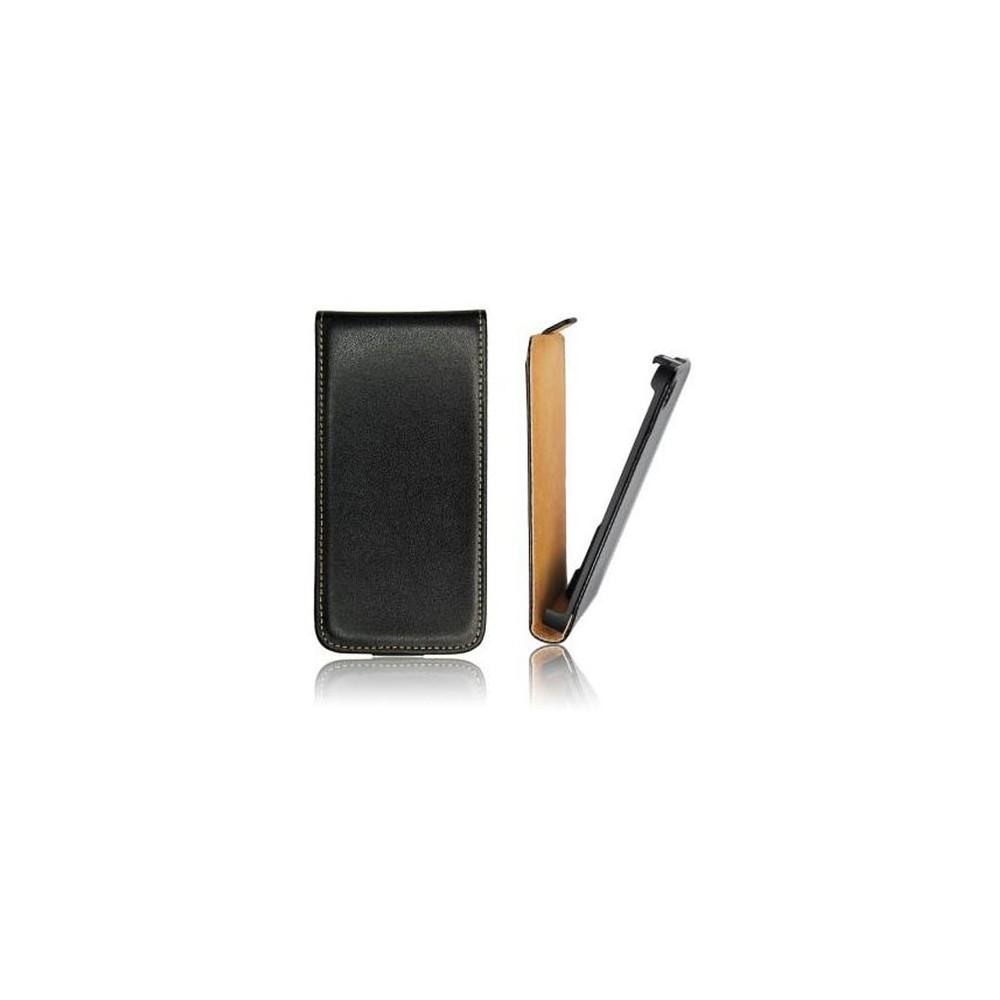 CUSTODIA FLIP VERTICALE SLIM PELLE per HTC ONE E8 COLORE NERO
