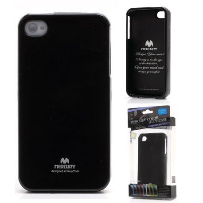 CUSTODIA GEL TPU SILICONE per APPLE IPHONE 4, 4s COLORE NERO LUCIDO CON GLITTER ALTA QUALITA' MERCURY BLISTER
