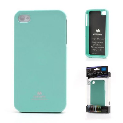 CUSTODIA GEL TPU SILICONE per APPLE IPHONE 4, 4s COLORE VERDE ACQUA LUCIDO CON GLITTER ALTA QUALITA' MERCURY BLISTER