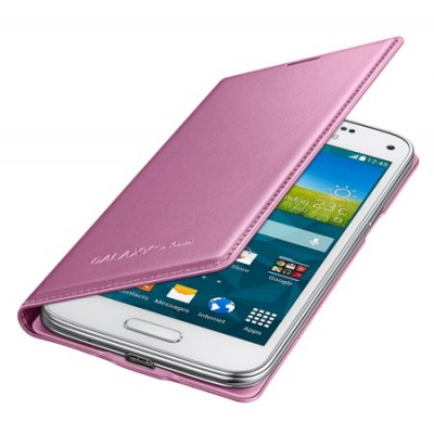 CUSTODIA FLIP COVER ORIGINALE SAMSUNG COLORE ROSA per G800 GALAXY S5 MINI EF-FG800BPEGWW BLISTER