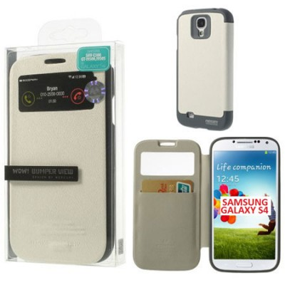 CUSTODIA FLIP ORIZZONTALE per SAMSUNG I9500 GALAXY S4 CON FINESTRA ID E INTERNO IN TPU COLORE BIANCO WOW! MERCURY BLISTER