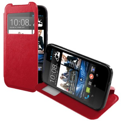 CUSTODIA FLIP ORIZZONTALE PELLE per HTC DESIRE 310 CON FINESTRA ID ED INTERNO IN TPU SILICONE COLORE ROSSO