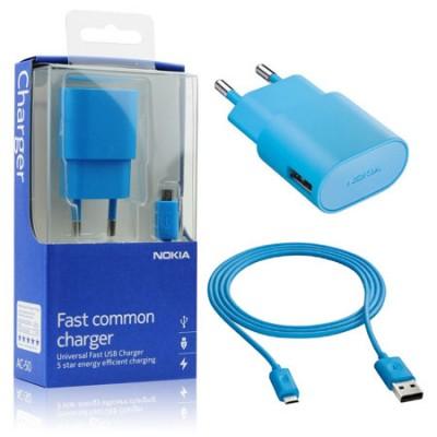 TRAVEL CASA USB + CAVO USB ATTACCO MICRO USB ORIGINALE NOKIA AC-50E per LUMIA 530, LUMIA 630 COLORE CIANO BLISTER