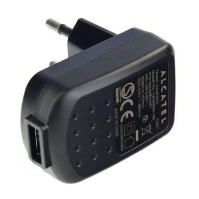 TRAVEL CASA ORIGINALE ALCATEL CON USB POTENZA 550 mAh COLORE NERO CBA3008AA0C1 BULK (CAVO USB NON INCLUSO)