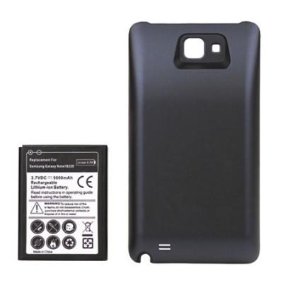 BATTERIA 5000 mAh + COVER COLORE NERO per SAMSUNG I9220, GALAXY NOTE N7000