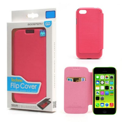CUSTODIA FLIP ORIZZONTALE per APPLE IPHONE 5c CON TASCA PORTA CARTE COLORE ROSA TECHNO BLISTER MERCURY