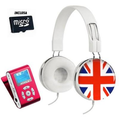 LETTORE MP3 COLORE ROSSO CON CUFFIE BANDIERA REGNO UNITO CON RADIO FM E SCHEDA DI MEMORIA MICRO SD 8GB INCLUSA SDB 8841CF