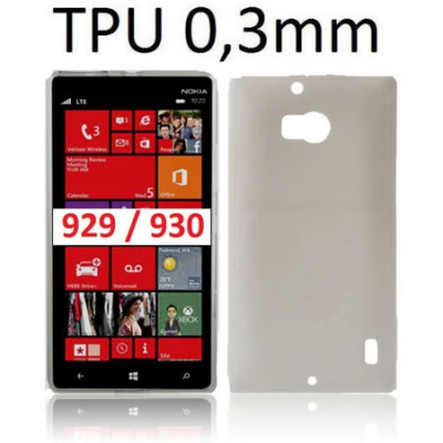 CUSTODIA GEL TPU SILICONE ULTRA SLIM 0,3mm per NOKIA LUMIA ICON 929, LUMIA 930 COLORE NERO TRASPARENTE