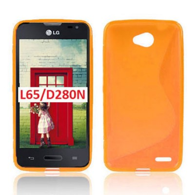 CUSTODIA GEL TPU SILICONE DOUBLE per LG L65 D280, L70 D320 COLORE ARANCIONE