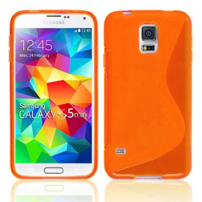 CUSTODIA GEL TPU SILICONE DOUBLE per SAMSUNG G800 GALAXY S5 MINI COLORE ARANCIONE