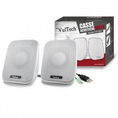CASSE ACUSTICHE 2.0 CON JACK 3,5mm AUTOALIMENTATE USB 2.0 PER PC E MP3 6W RMS COLORE BIANCO SP-305 VULTECH