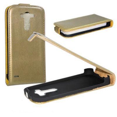 CUSTODIA SLIM VERTICALE FLIP PELLE per LG G3 D850, D855, LS990 COLORE PLATINO