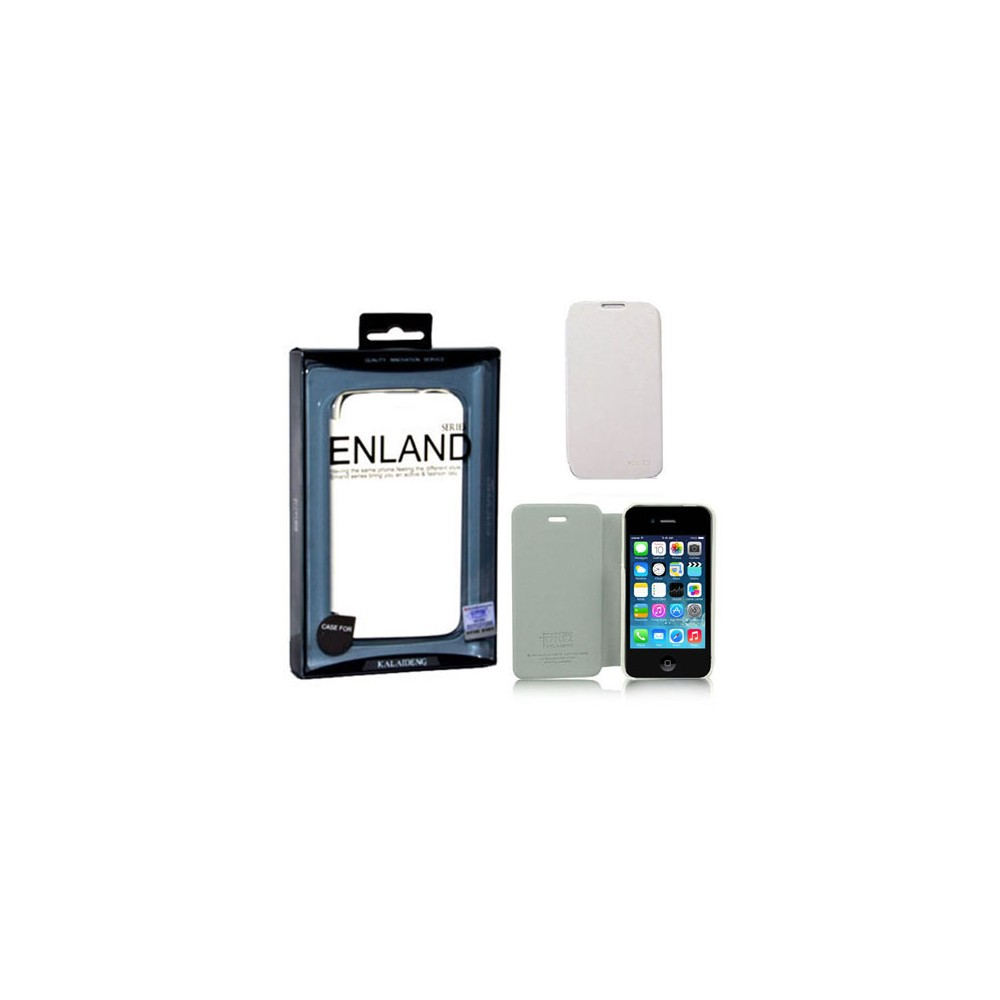 CUSTODIA FLIP ORIZZONTALE PELLE per APPLE IPHONE 4, 4S CON PORTA CARTE COLORE BIANCO BLISTER ENLAND ALTA QUALITA'