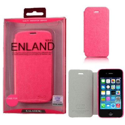CUSTODIA FLIP ORIZZONTALE PELLE per APPLE IPHONE 4, 4S CON PORTA CARTE COLORE FUCSIA BLISTER ENLAND ALTA QUALITA'