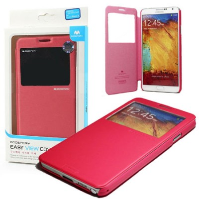 CUSTODIA BOOK CON FINESTRA IDENTIFICATIVO CHIAMANTE per SAMSUNG GALAXY NOTE 3 COLORE ROSA EASY VIEW BLISTER MERCURY