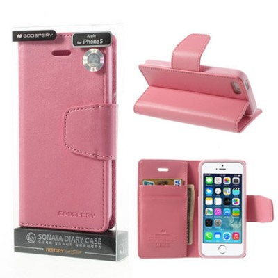CUSTODIA FLIP ORIZZONTALE PELLE per APPLE IPHONE 5, 5S CON INTERNO IN TPU E STAND COLORE ROSA SONATA BLISTER