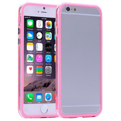 CUSTODIA GEL TPU SILICONE BUMPER per APPLE IPHONE 6, IPHONE 6S 4.7' POLLICI COLORE ROSA-TRASPARENTE-ROSA