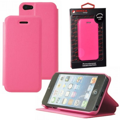 CUSTODIA FLIP ORIZZONTALE PELLE per APPLE IPHONE 5, IPHONE 5s CON STAND COLORE ROSA ALTA QUALITA' MOCCA BLISTER