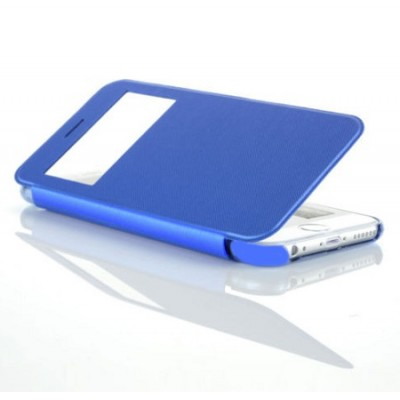 CUSTODIA FLIP ORIZZONTALE ULTRA SLIM per APPLE IPHONE 6, 6S 4.7' POLLICI CON FINESTRA IDENTIFICATIVO CHIAMANTE COLORE AZZURRO
