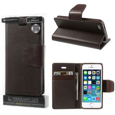 CUSTODIA FLIP ORIZZONTALE PELLE per APPLE IPHONE 5, 5S CON INTERNO IN TPU E STAND COLORE MARRONE SONATA BLISTER
