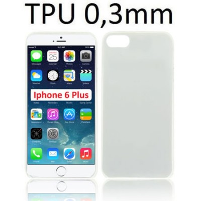 CUSTODIA GEL TPU SILICONE ULTRA SLIM 0,3mm per APPLE IPHONE 6 PLUS, IPHONE 6S PLUS 5.5' POLLICI COLORE BIANCO TRASPARENTE