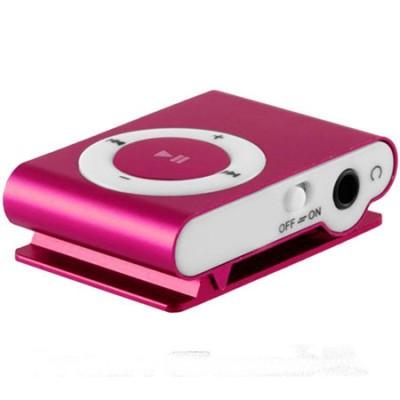 MINI LETTORE MP3 CON CLIP, SLOT MICRO SD E USCITA MINI USB COLORE ROSA