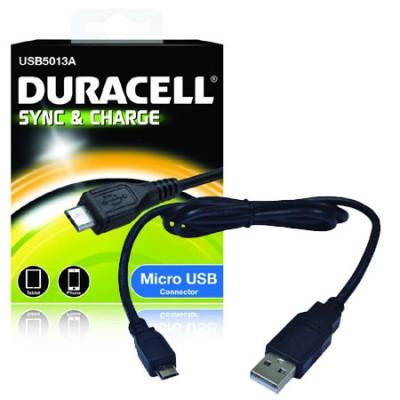 CAVO MICRO USB per WIKO HIGHWAY, IGGY, WAX COLORE NERO USB5013A DURACELL BLISTER SEGUE COMPATIBILITA'..