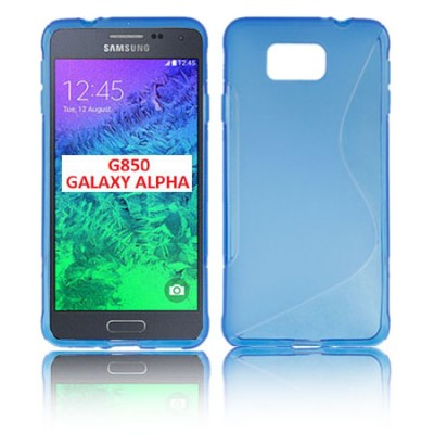 CUSTODIA GEL TPU SILICONE DOUBLE per SAMSUNG G850 GALAXY ALPHA COLORE BLU