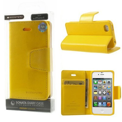 CUSTODIA FLIP ORIZZONTALE PELLE per APPLE IPHONE 4, IPHONE 4s CON INTERNO IN TPU E STAND COLORE GIALLO SONATA BLISTER