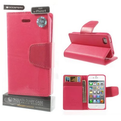 CUSTODIA FLIP ORIZZONTALE PELLE per APPLE IPHONE 4, IPHONE 4s CON INTERNO IN TPU E STAND COLORE FUCSIA SONATA BLISTER