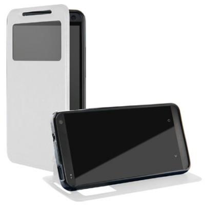 CUSTODIA FLIP ORIZZONTALE PELLE per HTC ONE, M7  CON FINESTRA ID ED INTERNO IN TPU SILICONE COLORE BIANCO