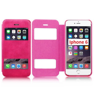 Custodia per Apple iPhone 6 4.7 Wallet Fronte trasparente FUCSIA