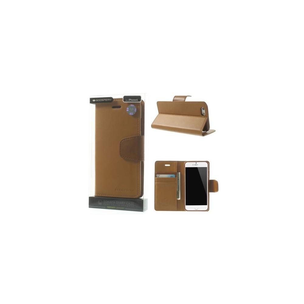 CUSTODIA FLIP ORIZZONTALE PELLE per APPLE IPHONE 6 PLUS, 6S PLUS 5.5' CON INTERNO IN TPU E STAND CARAMELLO ALTA QUALITA' SONATA