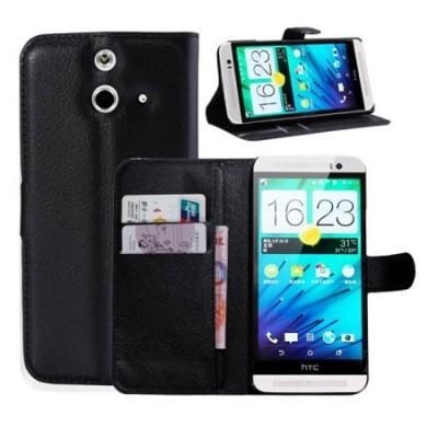CUSTODIA FLIP ORIZZONTALE PELLE per HTC ONE E8 CON STAND, TASCHE PORTA CARTE E CHIUSURA MAGNETICA COLORE NERO